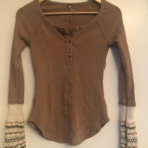 Free People Sweater Trimmed Henley - MINT!